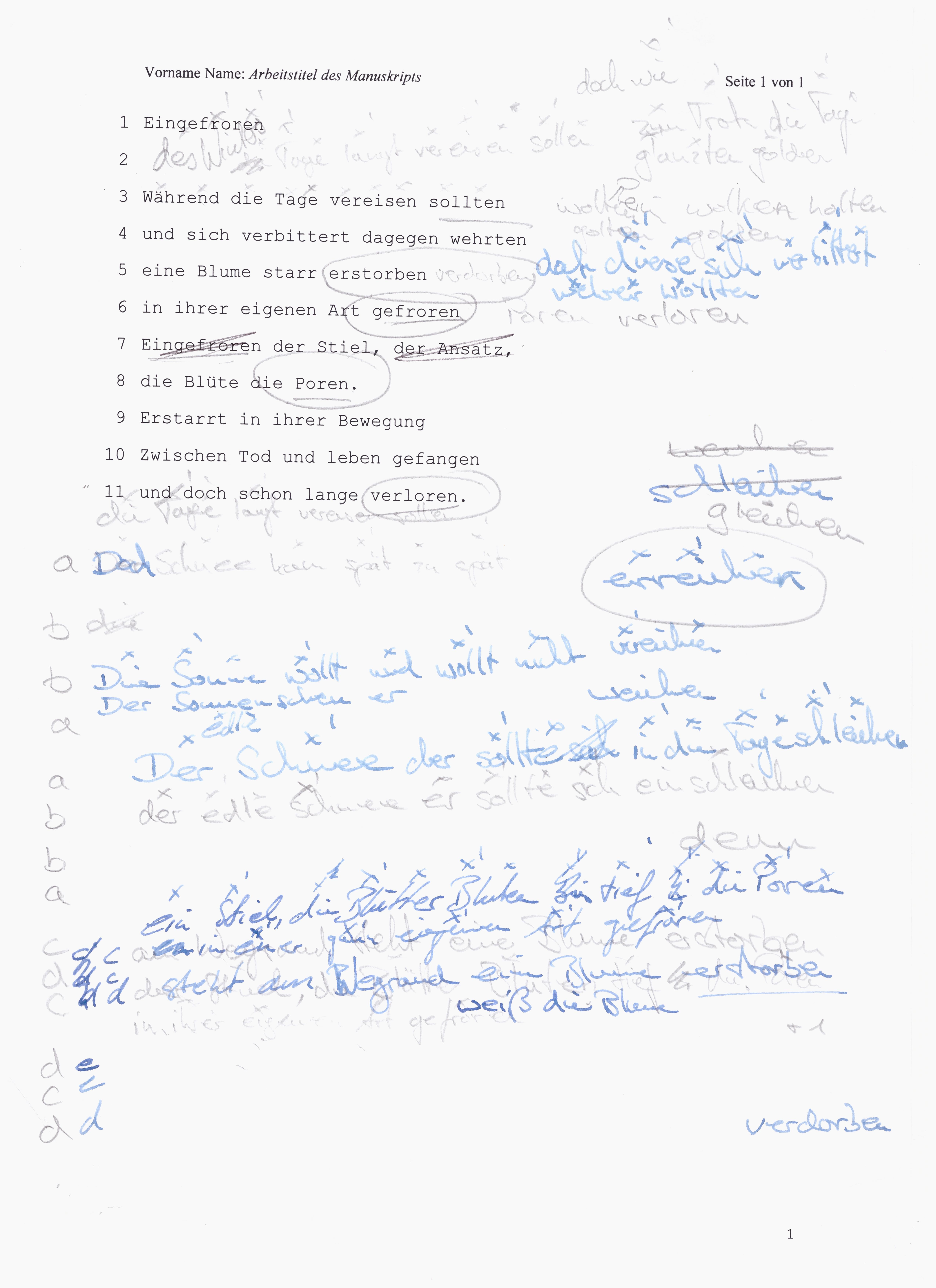 Felix Baumann, Gedicht